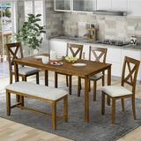 Red Barrel Studio® Ananiah 6-Piece Dining Set Wood/Upholstered Chairs in Brown, Size 30.0 H x 36.0 W x 60.0 D in | Wayfair