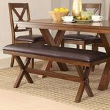 Gracie Oaks Gwenno Dining Bench in Wood/Upholstered in Brown, Size 19.0 H x 48.0 W x 14.0 D in | Wayfair 549F741B67D1447595E27FFC6CF05BEE