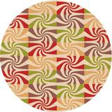 East Urban Home Abstract Area Rug Polyester/Wool in Orange, Size Round 7'   Wayfair 372B2FC4074E4517A02CDCF5E97B201A
