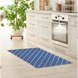 Dakota Fields Hillhurst Cotton Candy Reversed Kitchen Mat Synthetics in White/Blue, Size 0.08 H x 36.0 W x 60.0 D in   Wayfair