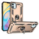 Rubberized Hybrid Shock Absorption Protective Mobile Phone Case With Rotatable Ring Stand, Gold/Black For iPhone 12 Mini