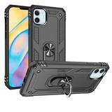 Rubberized Hybrid Shock Absorption Protective Mobile Phone Case With Rotatable Ring Stand, Gray/Black For iPhone 12 Mini