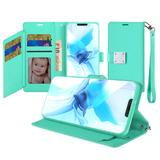Magnetic Metal Snap Two Row Credit Card Holder Mobile Phone Wallet Case with Wristlet, Mint For iPhone 12