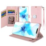 Magnetic Metal Snap Two Row Credit Card Holder Mobile Phone Wallet Case with Wristlet, Rose Gold For iPhone 12 Pro Max