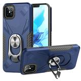 Bottle Opener Hybrid Mobile Phone Case With Carbon Fiber Details and Magnetic Ring Stand, Blue/Black For iPhone 12