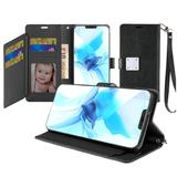 Magnetic Metal Snap Two Row Credit Card Holder Mobile Phone Wallet Case with Wristlet, Black For iPhone 12