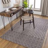 Pilning 8' x 10' Moroccan Farmhouse Trellis Cotton Charcoal/Cream Area Rug - Hauteloom