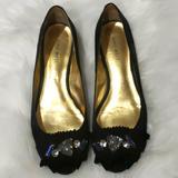 Nine West Shoes | Black Peep-Toe Satin Ballet Flats Wstones | Color: Black | Size: 6.5