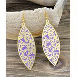 BeSheek Women's Earrings - Purple & Goldtone Floral Dragonfly Marquise Drop Earrings
