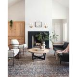 Chris Loves Julia x Loloi Jules Oriental Denim/Spice Area Rug Polyester in Brown/Gray, Size 18.0 H x 18.0 W x 0.13 D in   Wayfair