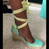 Nine West Shoes | Gorgeous!! Womens Nine West Espadrilles Lace-Up Shoes With Matching Purse | Color: Blue/Green | Size: 9