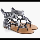 J. Crew Shoes   J. Crew Gingham Lace Up Strappy Sandals   Color: Blue/White   Size: 9