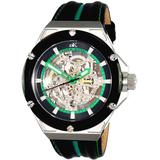 Ak2240 Automatic Green Dial Black Leather Watch -0mgn - Green - Adee Kaye Watches