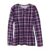 Haband Womens Essential Long Sleeve Henley Tee, Solid & Print, Amethyst Plaid, Size M