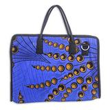 Cotton laptop bag, 'Authority in Blue'