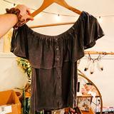 American Eagle Outfitters Tops | Ae O F F T H E S H O U L D E R T O P | Color: Gray | Size: S