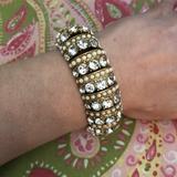 J. Crew Jewelry   J.Crew Crystal Rhinestone Stretch Bracelet   Color: Gold/White   Size: Os