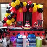 Disney Party Supplies   Mickey Mouse Birthday Party Decor   Color: Black/Red   Size: Os