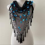 Anthropologie Accessories | Blue Rose Sheer Black Fringe Scarf Belt Wrap Shawl | Color: Black/Blue | Size: Os