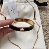 Kate Spade Jewelry | Nwt Kate Spade Bangle And Necklace Set Blkgld | Color: Black/Gold | Size: Os