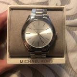 Michael Kors Accessories   Ladies Michael Kors Slim Runway Silver-Tone Watch   Color: Silver   Size: Os