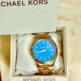 Michael Kors Accessories | Michael Kors Rose Gold Blue Face Women'S Watch | Color: Blue/Gold | Size: Os