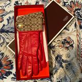 Coach Accessories | New Leather Coach Gloves In Box | Color: Red | Size: Os