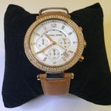 Michael Kors Accessories | Michael Kors Parker Chronograph Ladies Watch | Color: Silver/Tan | Size: Os