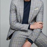Zara Suits & Blazers | Mens Zara Plaid Suit Jacket And Pants | Color: Blue/Yellow | Size: 46r