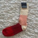 J. Crew Accessories | J.Crew Womens Crew Boot Socks | Color: Cream/Red | Size: Os