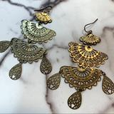 Anthropologie Jewelry | Delicate Gold Chandelier Anthropologie Earrings | Color: Gold | Size: Os