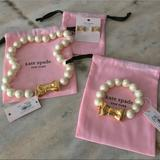 Kate Spade Jewelry | Kate Spade Pearl Bow Necklace Bracelet Earring Set | Color: Gold/White | Size: Os