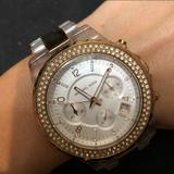 Michael Kors Accessories   Michael Kors Rose Gold And Clear Bracelet Watch   Color: Pink/White   Size: Os