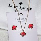 Kate Spade Jewelry | Kate Spade Enamel Pendant And Studs Set | Color: Gold/Orange | Size: Os