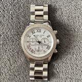 Michael Kors Accessories | Michael Kors Silver Watch W Diamonds Around Face | Color: Silver | Size: Os
