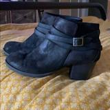 Anthropologie Shoes | Black Chunky Heel Suede Ankle Boots | Color: Black | Size: 8