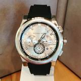 Michael Kors Accessories | Mk Grayson Round Analog Silver Dial Men'S Watch | Color: Black/Silver | Size: 47mm