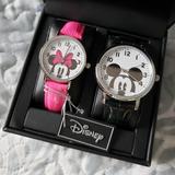 Disney Accessories | Disney Mickey Minnie Couples Watch Set Men Women | Color: Black/Pink | Size: Os
