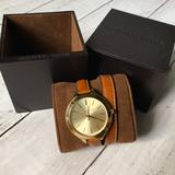 Michael Kors Accessories   Michael Kors Runway Slim Double Wrap Leather Watch   Color: Brown/Gold   Size: 42mm