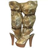Louis Vuitton Shoes   Louis Vuitton Runway Sequin Platform Peeptoe Boots   Color: Gold   Size: 9