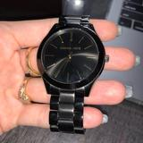 Michael Kors Accessories   Michael Kors Slim Runway Black Ion-Plated Watch   Color: Black/Gold   Size: Os