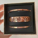 Coach Jewelry | Coach Signature Bangle Set Rose Gold | Color: Gold | Size: Os