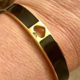 Kate Spade Jewelry   Kate Spade Hole Punch Spade 10mm Hinged Bangle R   Color: Black/Gold   Size: 10mm