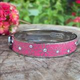 Coach Jewelry   Coach Brand Pink Floral Hinged Bangle Bracelet   Color: Pink/Silver   Size: Hinged Bangle For All Sizes