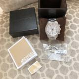 Michael Kors Accessories   Michael Kors Layton Chronograph Silver Dial Watch   Color: Silver   Size: Os