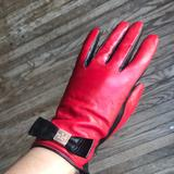 Kate Spade Accessories | Kate Spade Redblack Lamb Leather Gloves | Color: Black/Red | Size: Medium