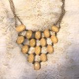 Anthropologie Jewelry | Light Brown Beige Gemstone Set Necklace Gold Tower | Color: Cream/Gold | Size: Os