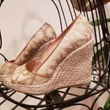 Michael Kors Shoes | Michael Kors Signature Peep Toe Espadrille Wedges | Color: Cream/Tan | Size: 7.5