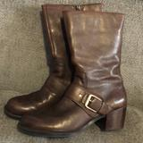 Nine West Shoes | Nine West Brown Leather Zip Up Boots Size 9 | Color: Brown | Size: 9