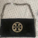 Tory Burch Bags | Black Patent Leather Tory Burch Reva Clutch | Color: Black | Size: 12l X 0.5w X 7h